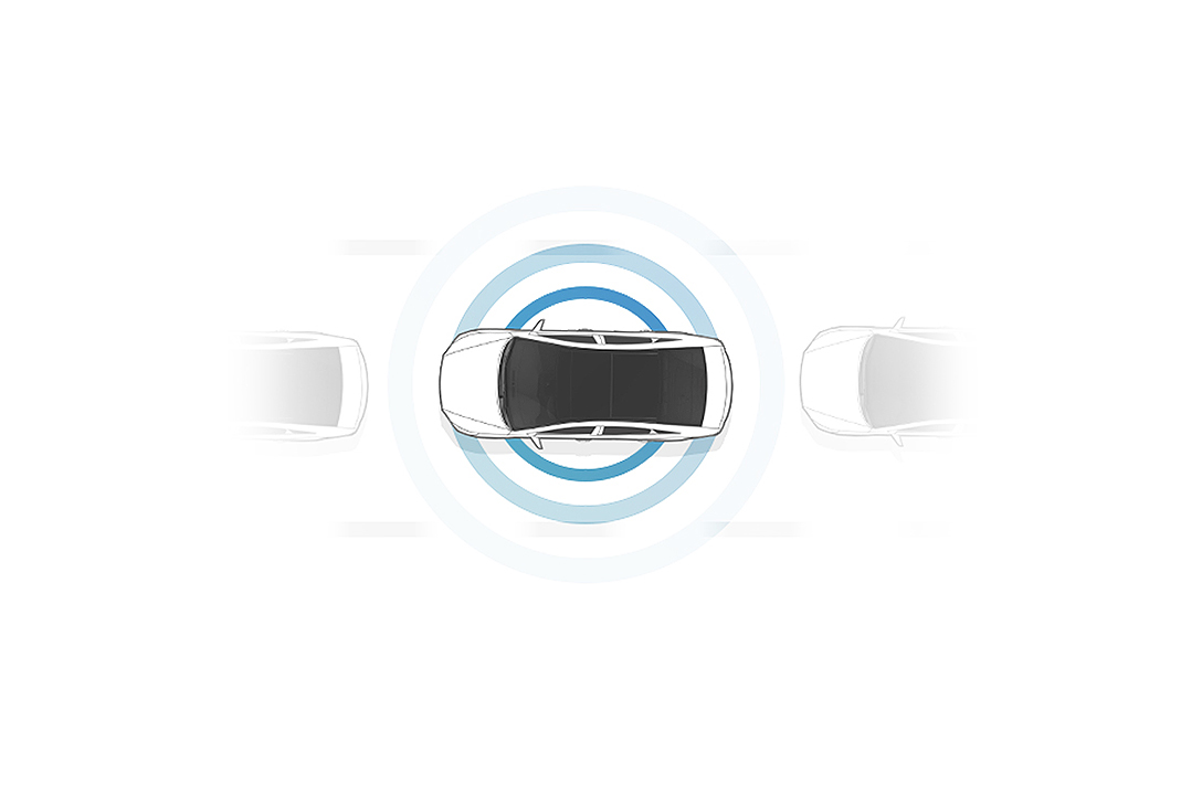 An illustration of cars from a top view for Highway Driving Assist with a blue round signal out of a car in the middle