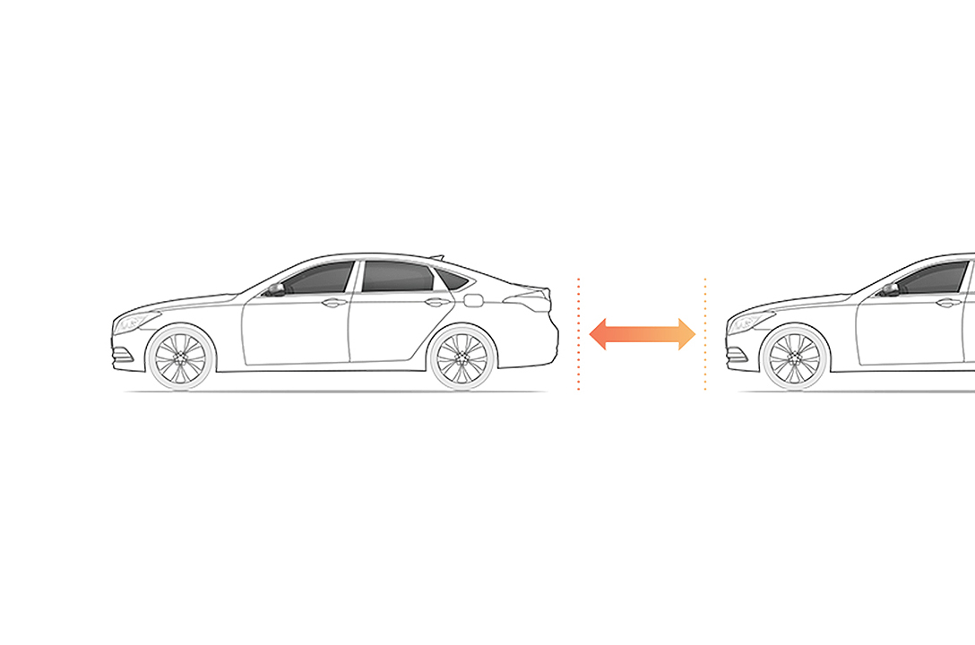 An illustration of a side of cars indicating Smart Traffic Jam Assist