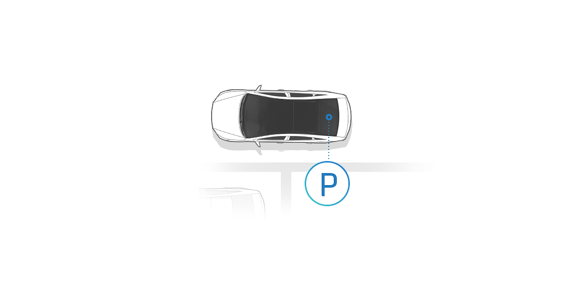 An illustration of a car from top view for Remote Parking Assist System
