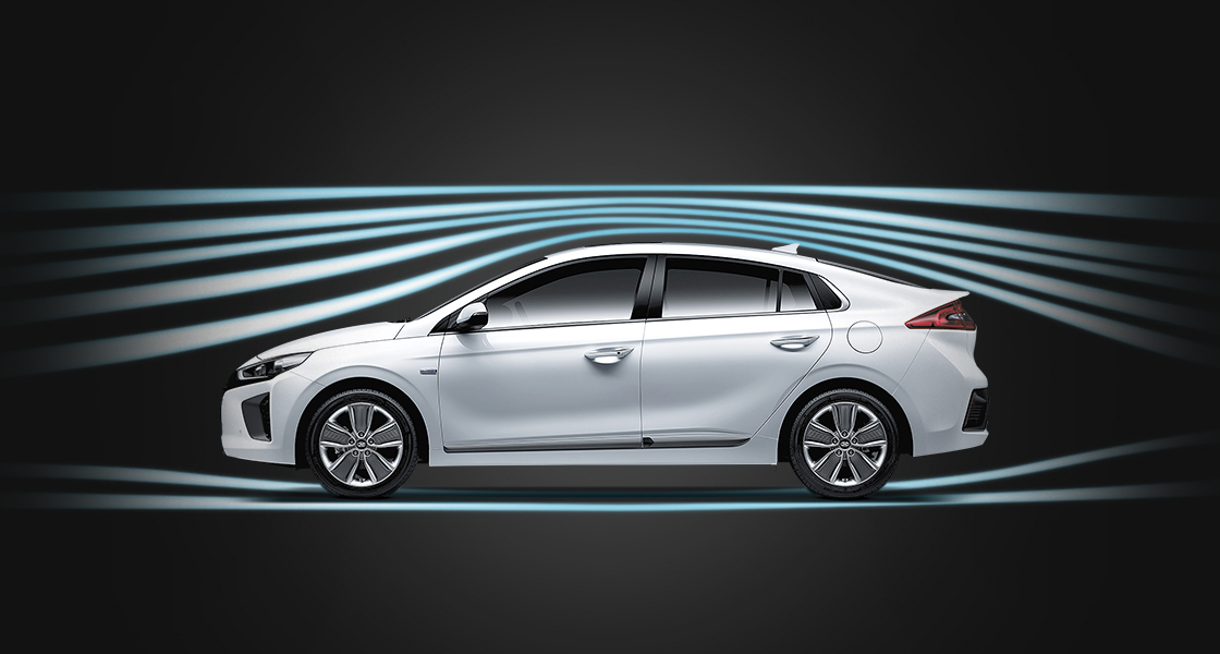 Aerodynamic graphic surrounding white Ioniq Hybrid