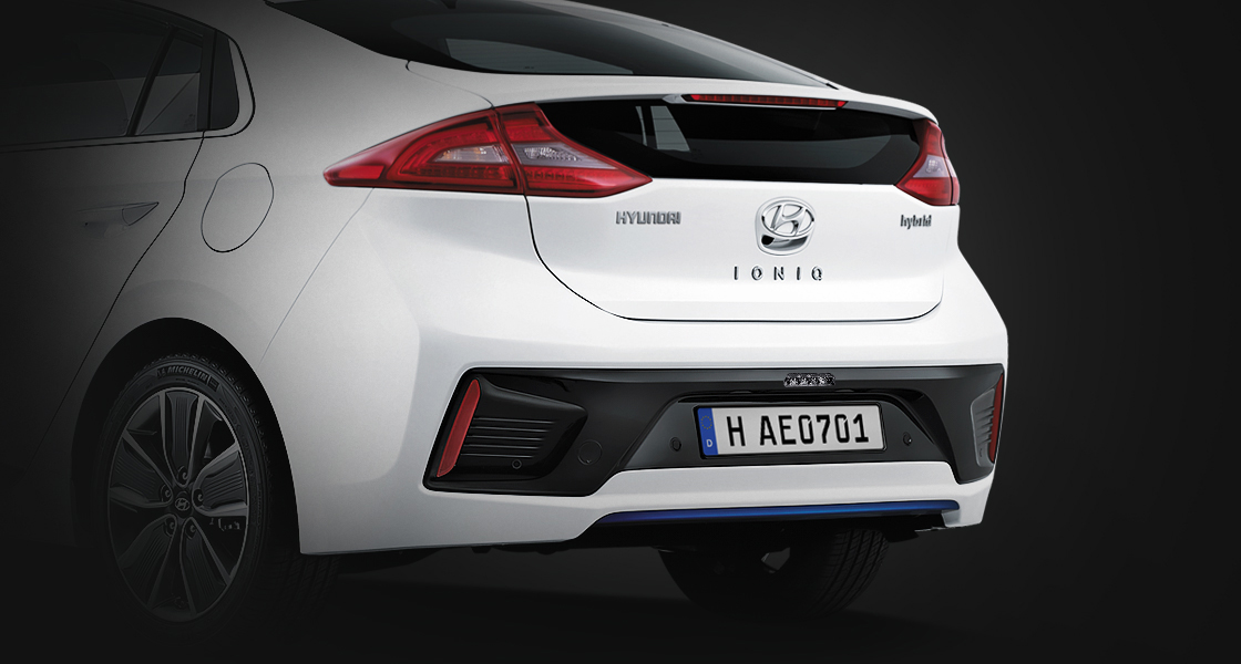 Rear view of white Ioniq Hybrid
