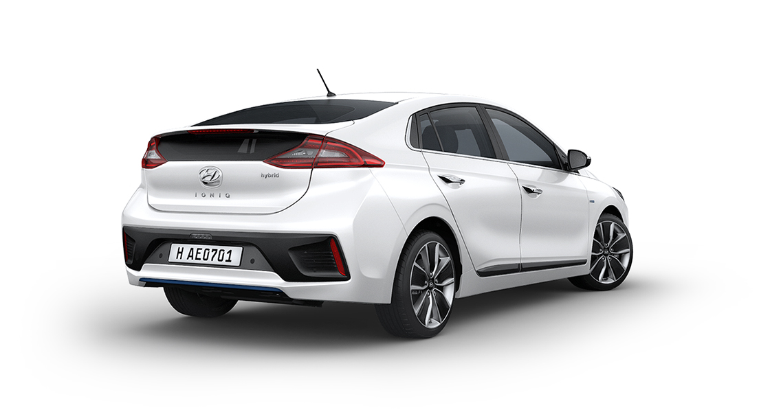 Side rear view of white Ioniq Hybrid