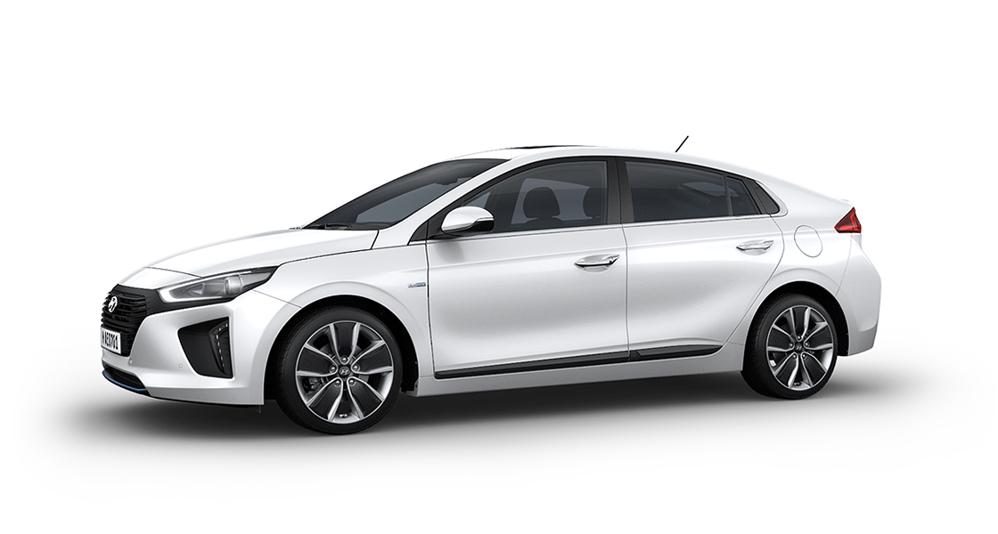 Side view of white Ioniq Hybrid