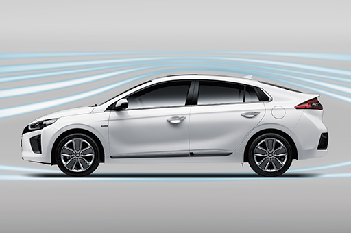 Aerodynamic graphic surrounding the exterior of Ioniq Hybrid