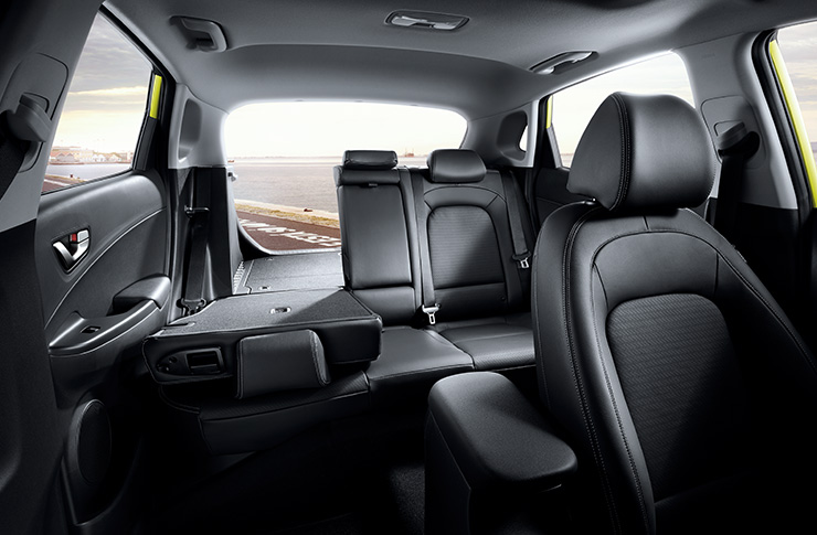 Front view of interior with split folding rear seats
